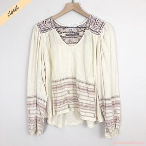 [Lucky Brand] Embroidered Long Sleeve Boho Top